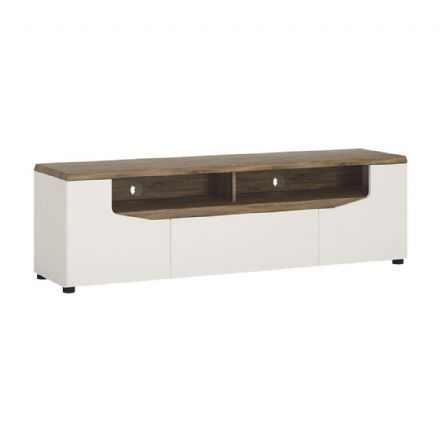 Toledo 2 door 1 drawer TV unit in Alpine White with high gloss fronts and Stirling Oak